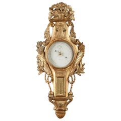 18th Century Louis XVI Giltwood Barometer and Thermometer