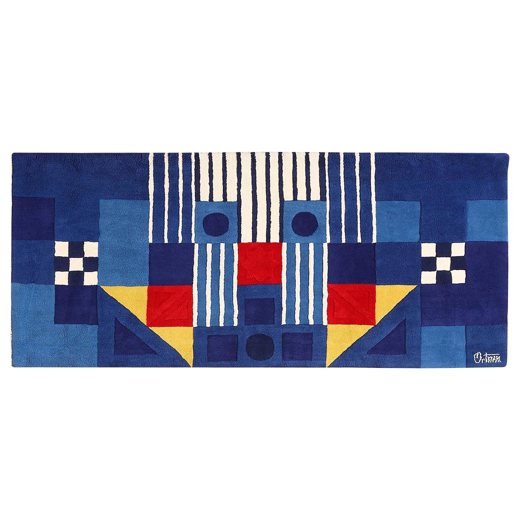 Blue Vintage George Earl Ortman Art Rug. Size: 9 ft x 4 ft (2.74 m x 1.22 m)