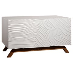 Contemporary Fiji Sideboard in Varnished Blockboard and Solid Wood