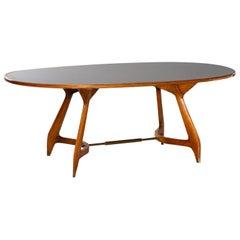 Vintage Italian Ico Parisi Gio Ponti Oval Table Maple Glass, circa 1950