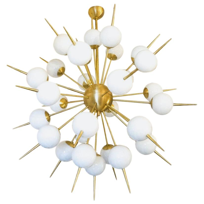 Alberto Donà Mid-Century Modern White Murano Glass Sputnik Chandelier 1980s