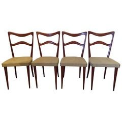 Set of Four Italian Midcentury Beech Dining Chairs by Consorzio Sedie Friuli