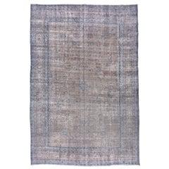 Antique Gray and Blue Persian Tabriz Carpet