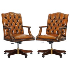 1 of 2 Restored Chesterfield Gainsborough Brown Leather Directors Captains Chair