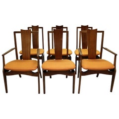 Set of Six Mid-Century Modern Floating Seat Dining Chairs