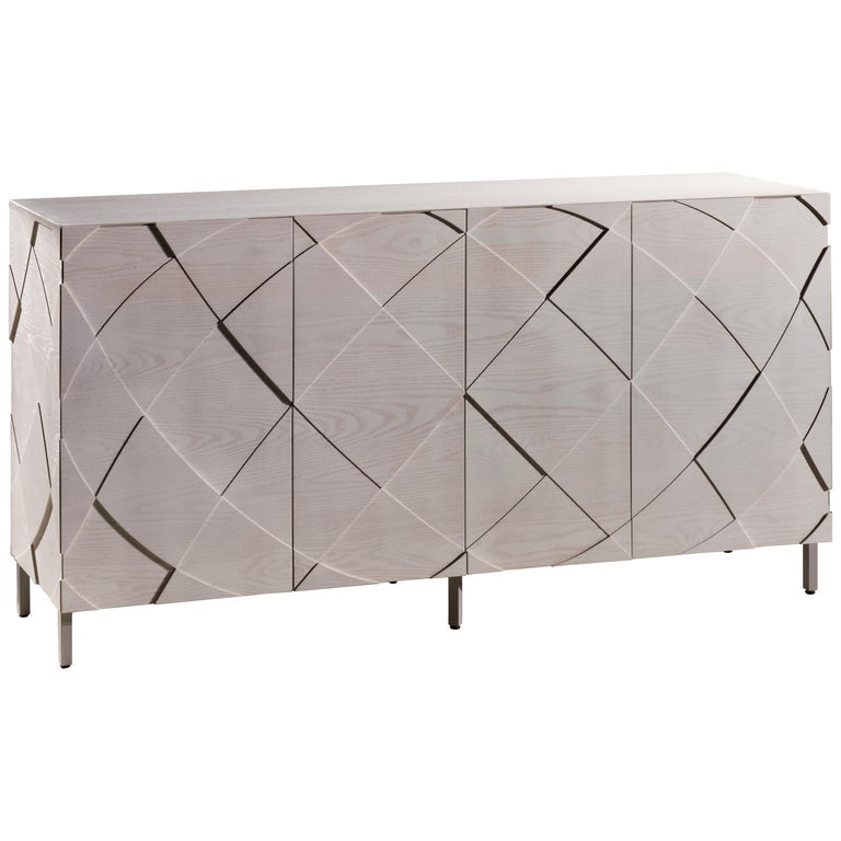Contemporary Sedici Sideboard in Handcrafted Solid Wood For Sale