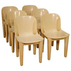 Casa '70 Dalvera 20th Century White Plastic Groups Of 6 Italian Design Chairs