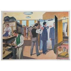 1950s, French School Chart, at the Tailor Shop, by Rossignol