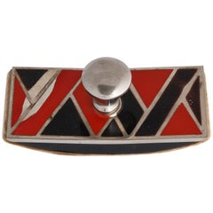 French Art Deco Metal and Enamel Blotter Attributed to Jean Dunand