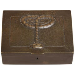 Continental Art Deco Hinged Bronze Box with Elevated Snake Design