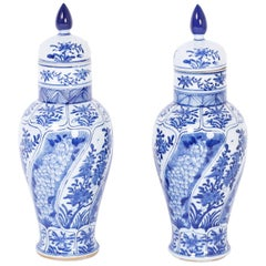 Pair of Blue and White Chinese Porcelain Lidded Urns