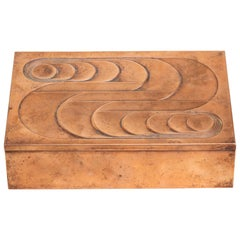 American Art Deco Hinged Copper Box with Geometric Design
