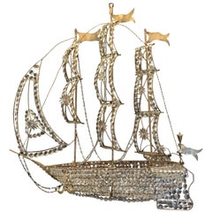 Beautiful Vintage Large Italian Crystal Beaded Gilt Boat Chandelier Ship Fixture
