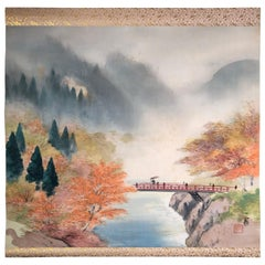 Japanese Hand Painted Four Seasons Silk Scroll Set Four, Vibrant Colors