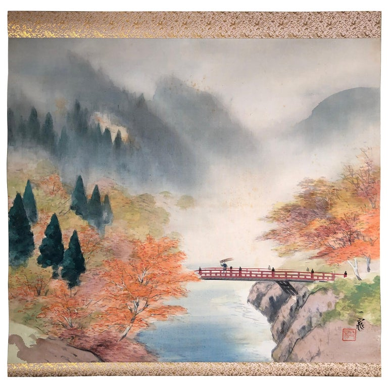 Japanese Set Four Hand Painted Four Seasons Silk Scroll Set , Vibrant Colors For Sale