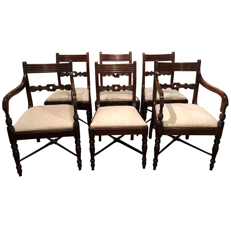 19th Century Set of Six Regency Mahogany Dining Chairs For Sale