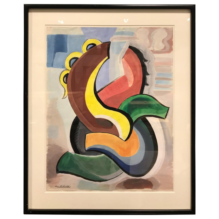 Colorful abstract gouache, 1950, by Giò Colucci, offered by Milord Antiques