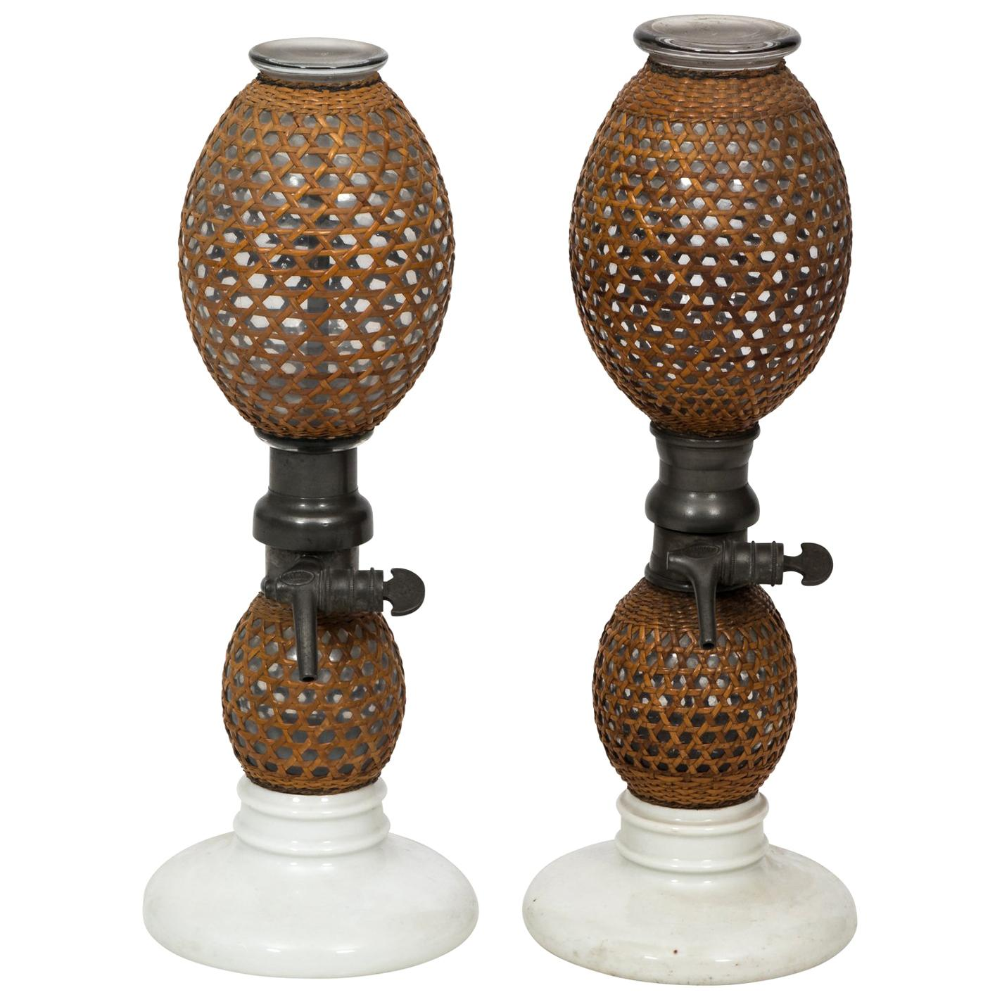 Pair of Early 1900s French Antique Seltzer Bottles