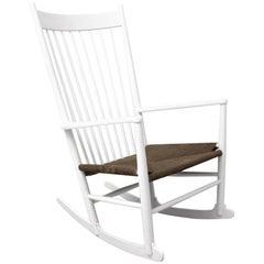 Scandinavian Modern White Vintage Rocking Chair J 16 by Hans Wegner Denmark