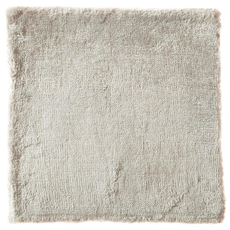 Modernist Cream Opal Silver Neutral Bamboo Silk Hand-Loomed Rug For Sale