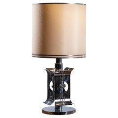 Mazzega Style Vintage Italian Chrome Lamp, circa 1970