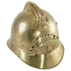 French Brass Fireman's Helmet with City Seal, circa 1900