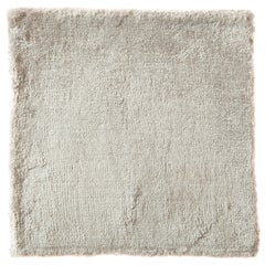 Creme, Opal, Silver, Solid Rug, Hand-Loomed with Bamboo Silk, Neutral Rug