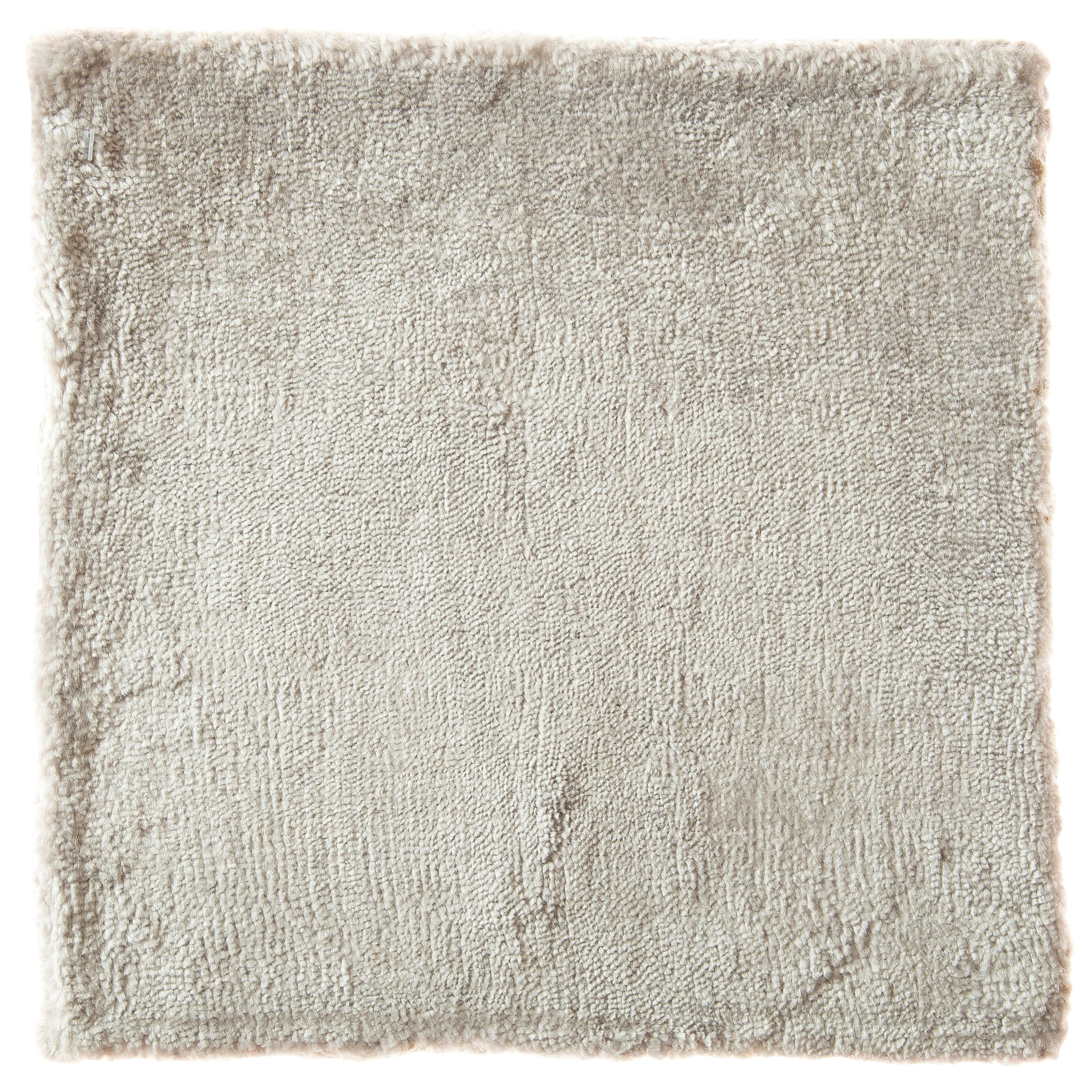 Contemporary Cream Ivory and Silver Hand-Loomed Bamboo Silk Rug