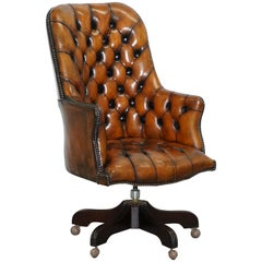 Restored 1960s Chesterfield High Back Brown Leather Directors Captains Chair A1