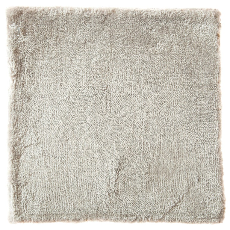 Cream Opal Silver Solid Color Bamboo Silk Hand-Loomed Rug  For Sale
