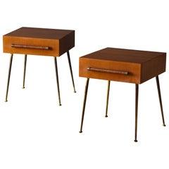 T.H. Robsjohn-Gibbings, Bedside Cabinets, Walnut, Brass, Rattan, Widdicomb 1950s
