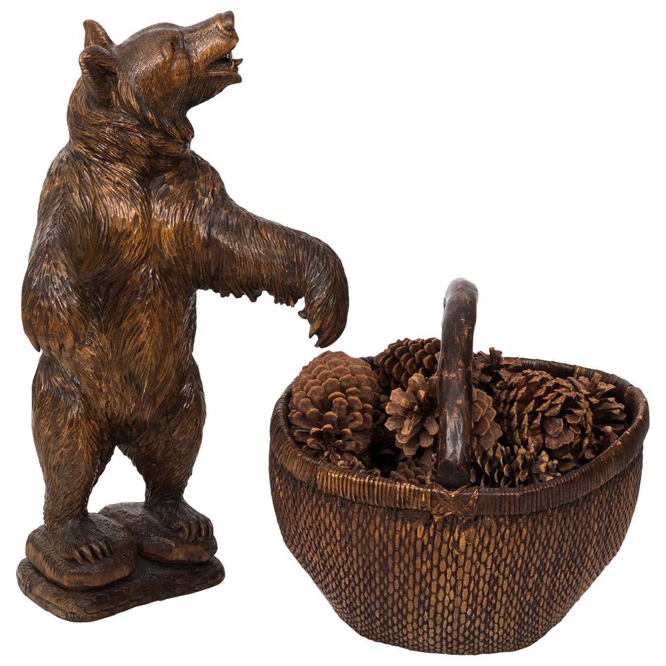 Early 19th Century Black Forest Carved Bear with Basket