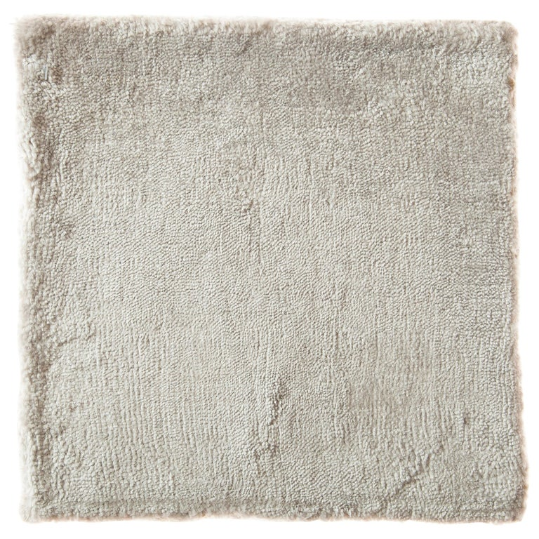Modernist Cream Ivory Silver Opal Neutral Bamboo Silk Rug Made  For Sale