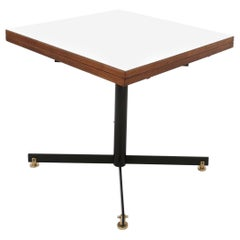 Extendible Teak and White Formica Dining Table with Metal Pedestal, Italy, 1950s