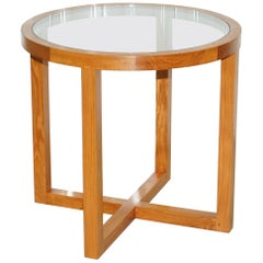 Ralph Lauren Solid Teak and Glass Round Centre Occasional Table
