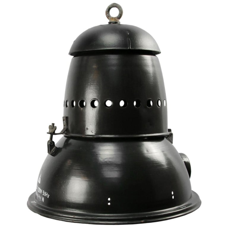 Large Black Enamel Vintage Industrial Pedant Lights  For Sale