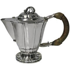Rare Early Georg Jensen Silver Breakfast Coffee Pot Designed in 1911