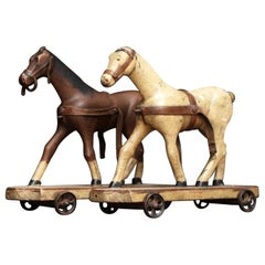 Pair of Folk Art Naïve Carved Wooden Horse and Coaches, circa 1870