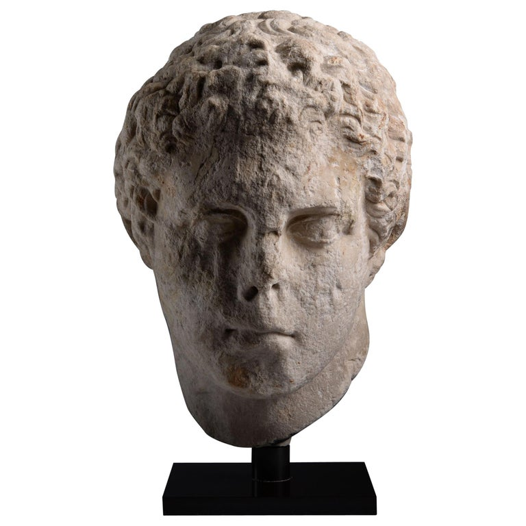 Ancient Greek over Life-Size Hellenistic Marble Head of an Athlete, 300 BC For Sale