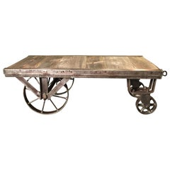 Industrial Factory Cart Fully Restored as a Coffee Table