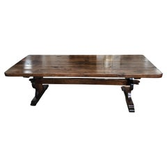 19th Century French Farmhouse Thick Top Oak Dining Table