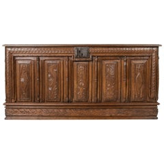 Large French Louis XIII Period Hand Carved Oak Coffer, Desk, Counter, circa 1631