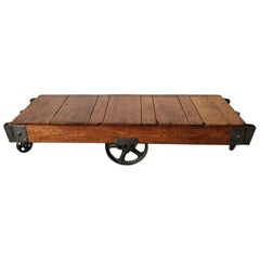 Industrial Oak and Steel Factory Cart, Fully Restored