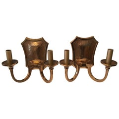 Pair of Two Bulb 1970s Bronze Brutalist Style Sconces