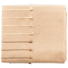 TERRA Handloom Merino Cotton Throw /  Blanket In Stripes Design, Neutral Color