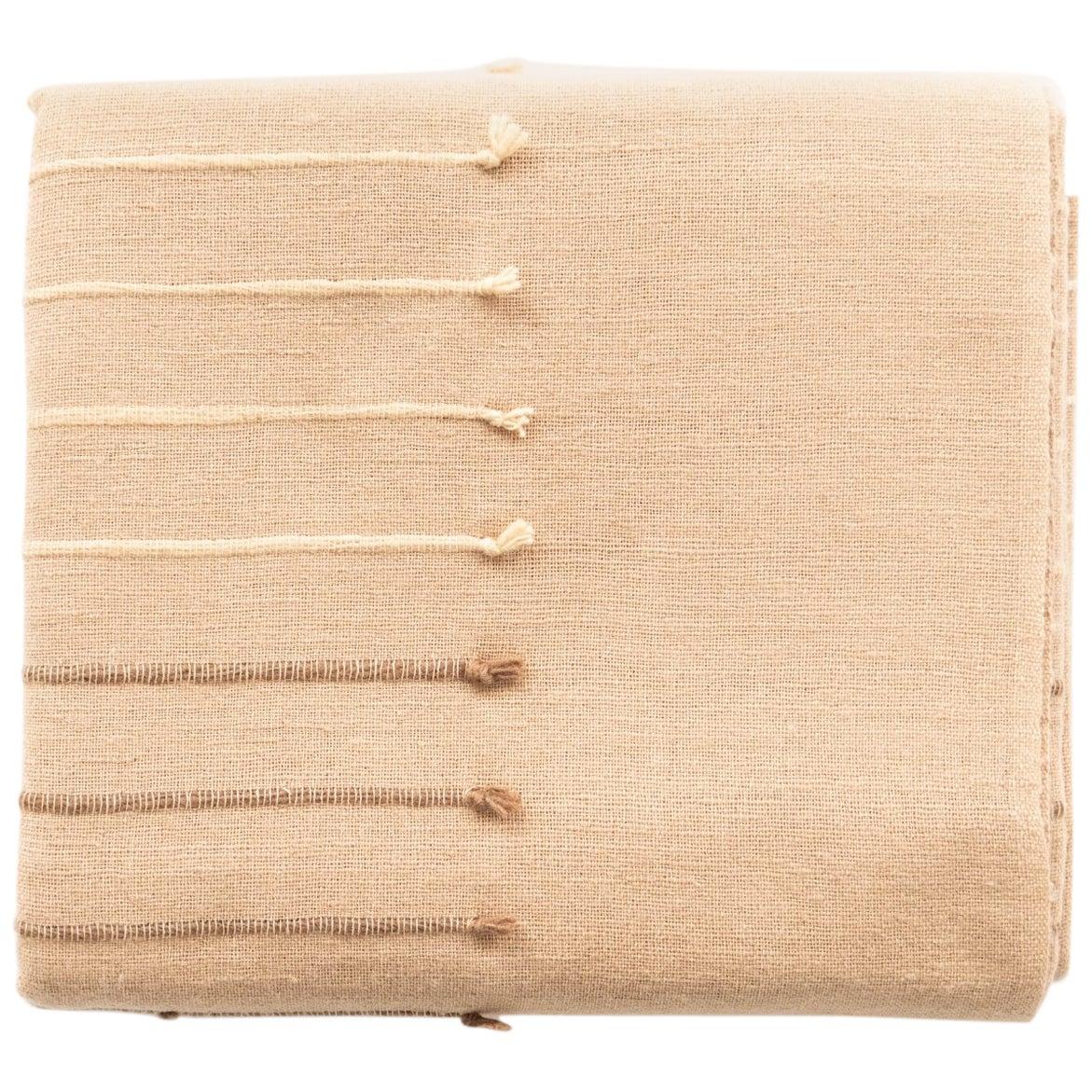 TERRA Handloom Merino Cotton Throw /  Blanket In Stripes Design, Neutral Color