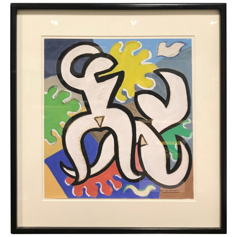 "Colorful Gouache ""Abstract Dancing Nudes"" by Gio Colucci For Sale"