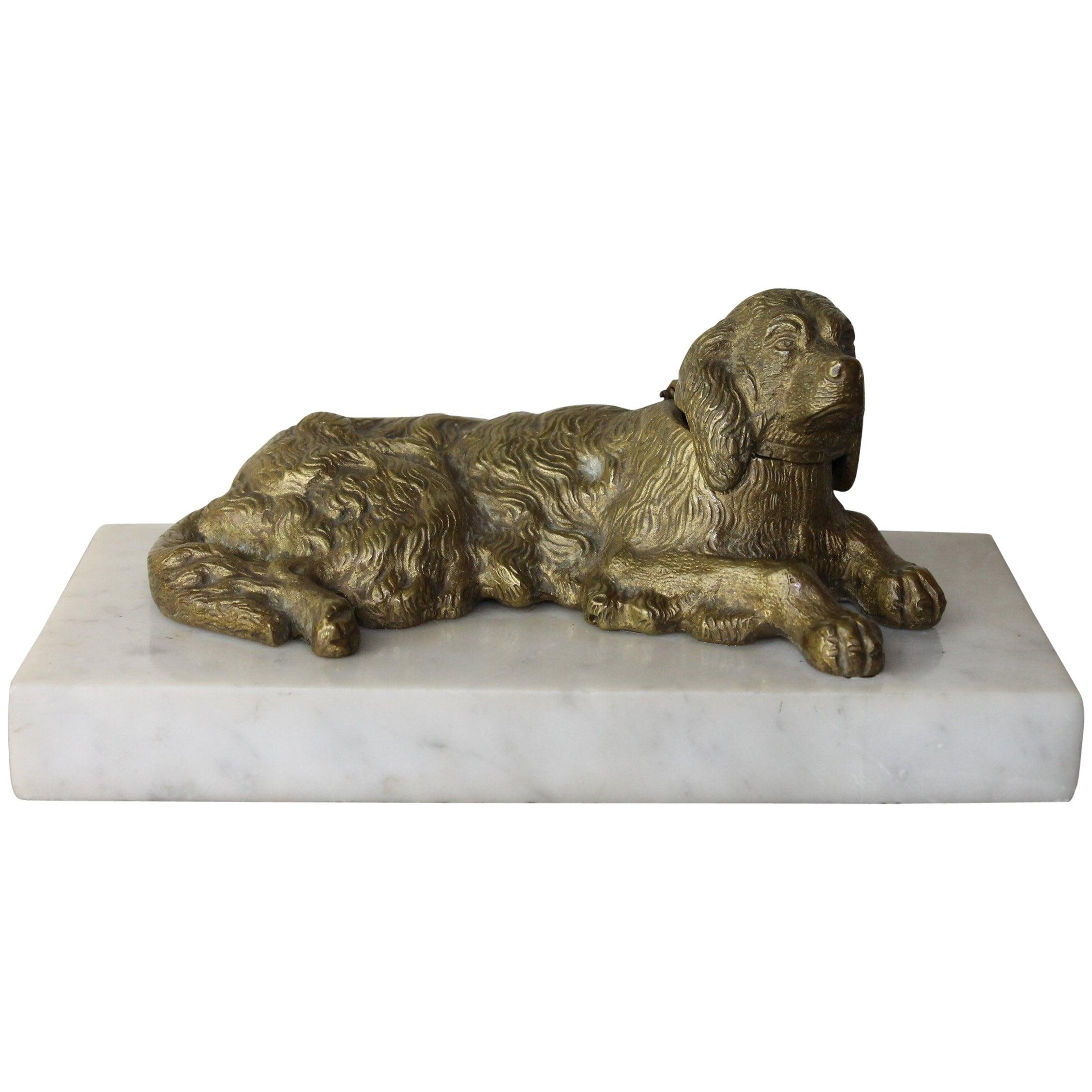 Bronze Irish Setter Dog Inkwell on Marble Base, Art Deco, 1930s