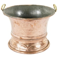 Late 19th Century French Copper Cachepot with Coat of Arms and Bronze Handles