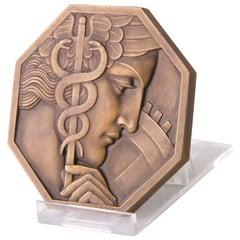 Art Deco Bronze Medal Signed P. Turin